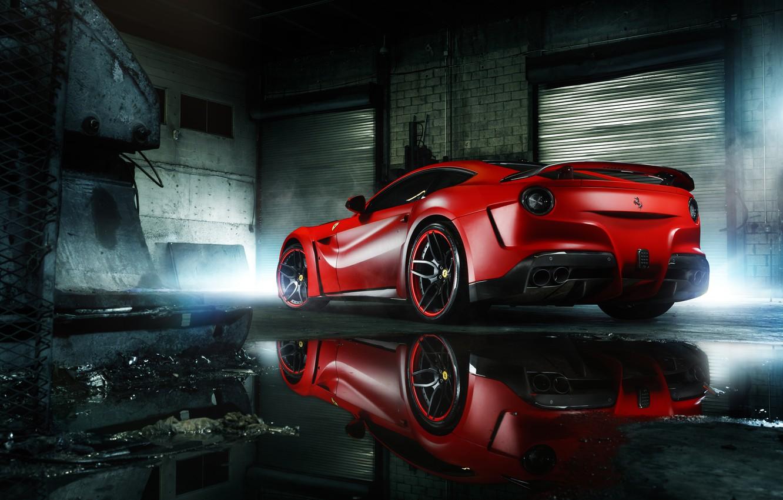 Photo wallpaper Ferrari, Red, Body, Supercar, Berlinetta, F12, Wheels, Wide, Rear, ADV.1, MC Customs