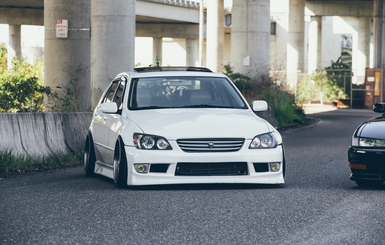 Photo wallpaper turbo, lexus, white, japan, toyota, jdm, tuning, front, face, low, height, is200, stance, is300, dropped, …
