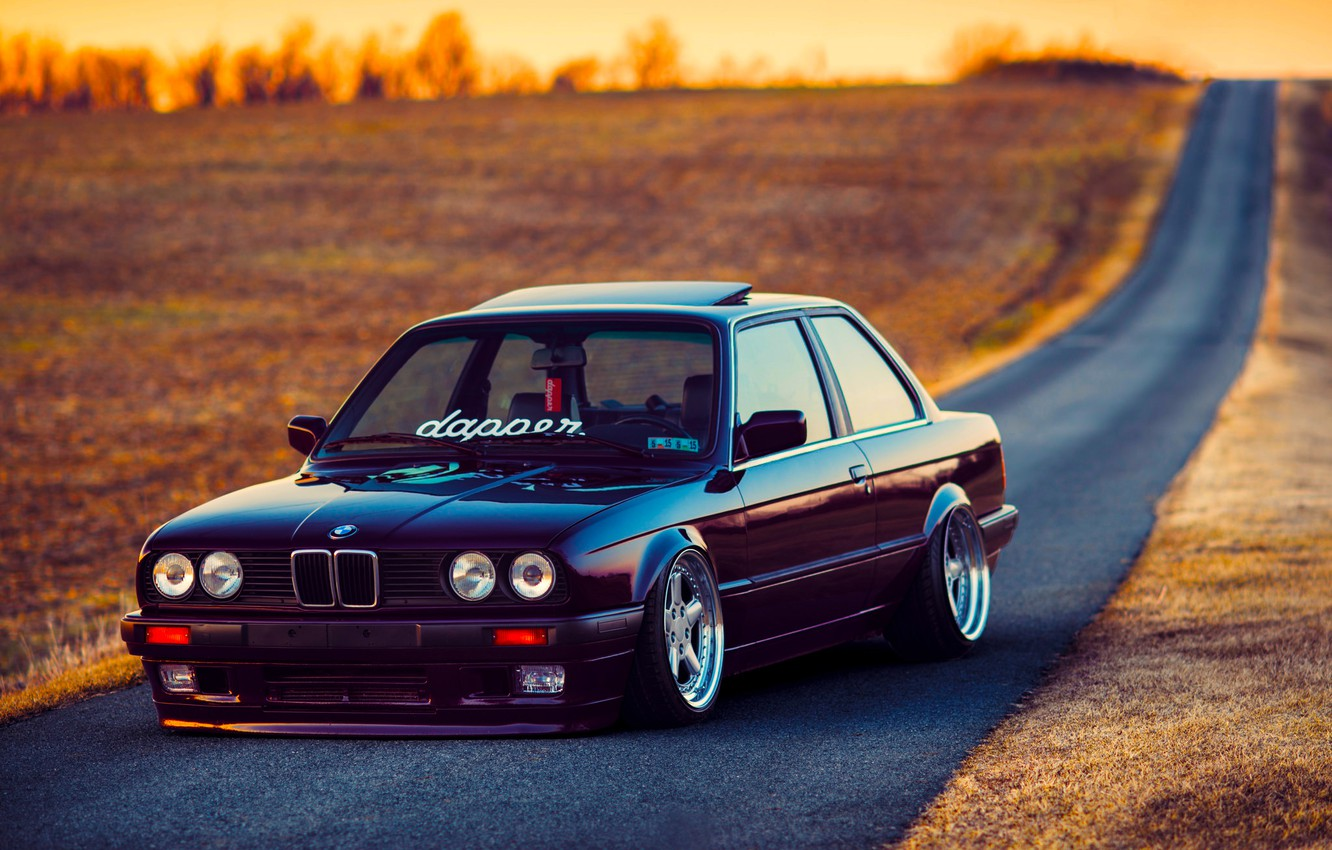 Photo wallpaper BMW, Car, Front, Black, Sun, E30, Stance, Dapper, Ligth, Beam