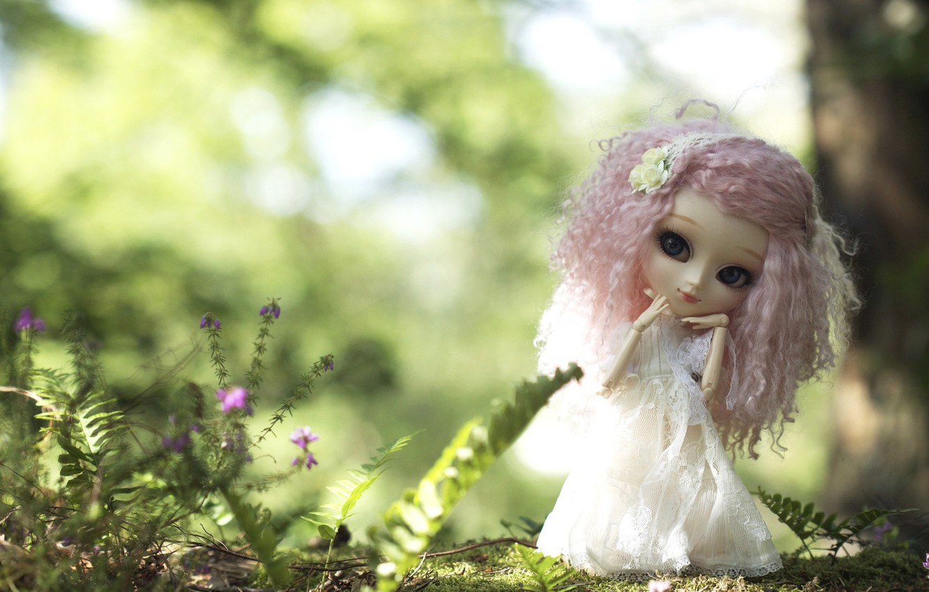 Photo wallpaper nature, toy, doll, dress, pink hair