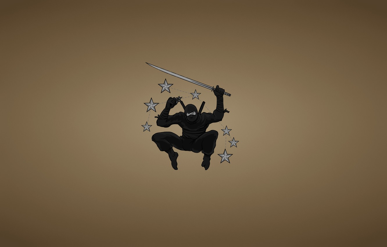 Photo wallpaper weapons, jump, minimalism, sword, ninja, stars, blade, ninja, black suit