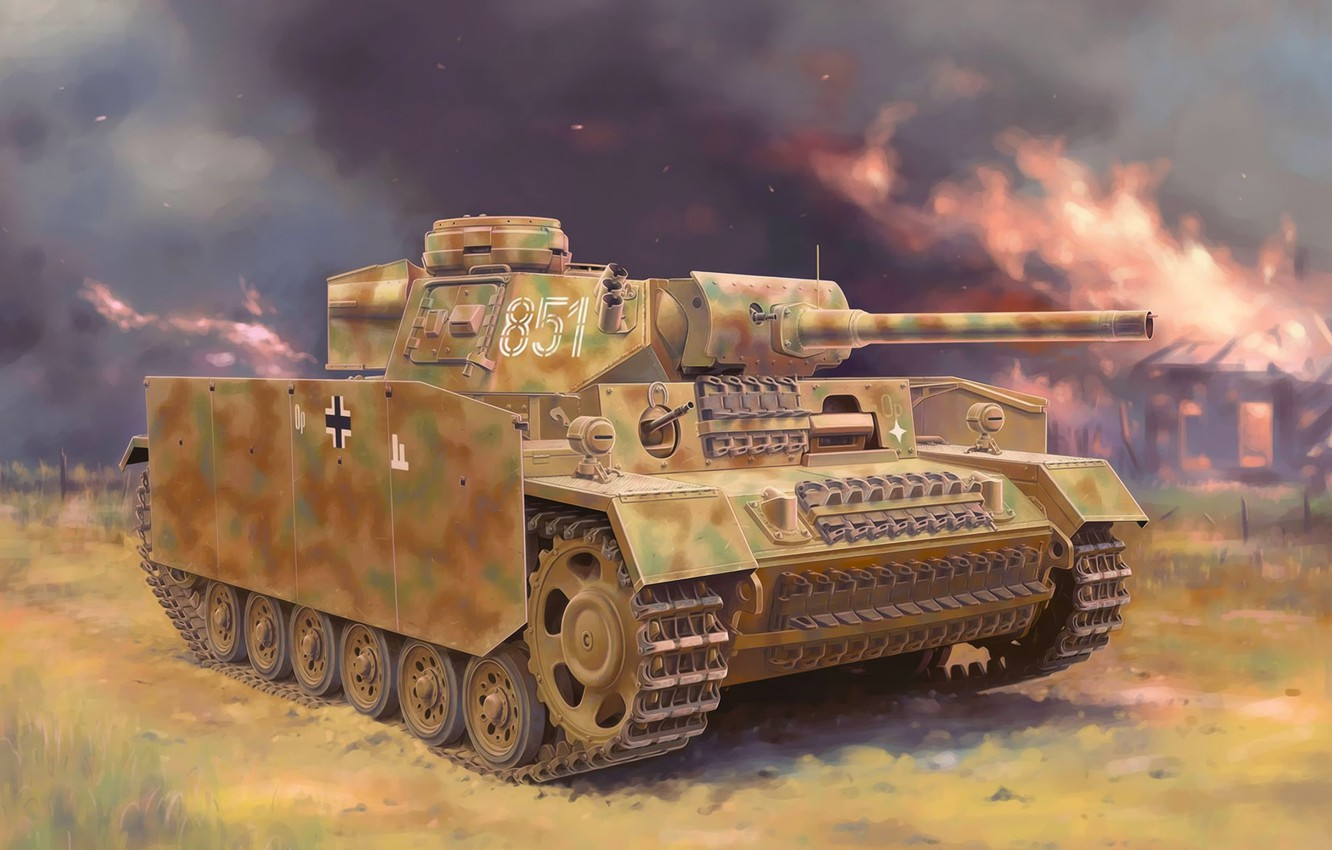 Wallpaper art, painting, tank, ww2, Panzer III images for