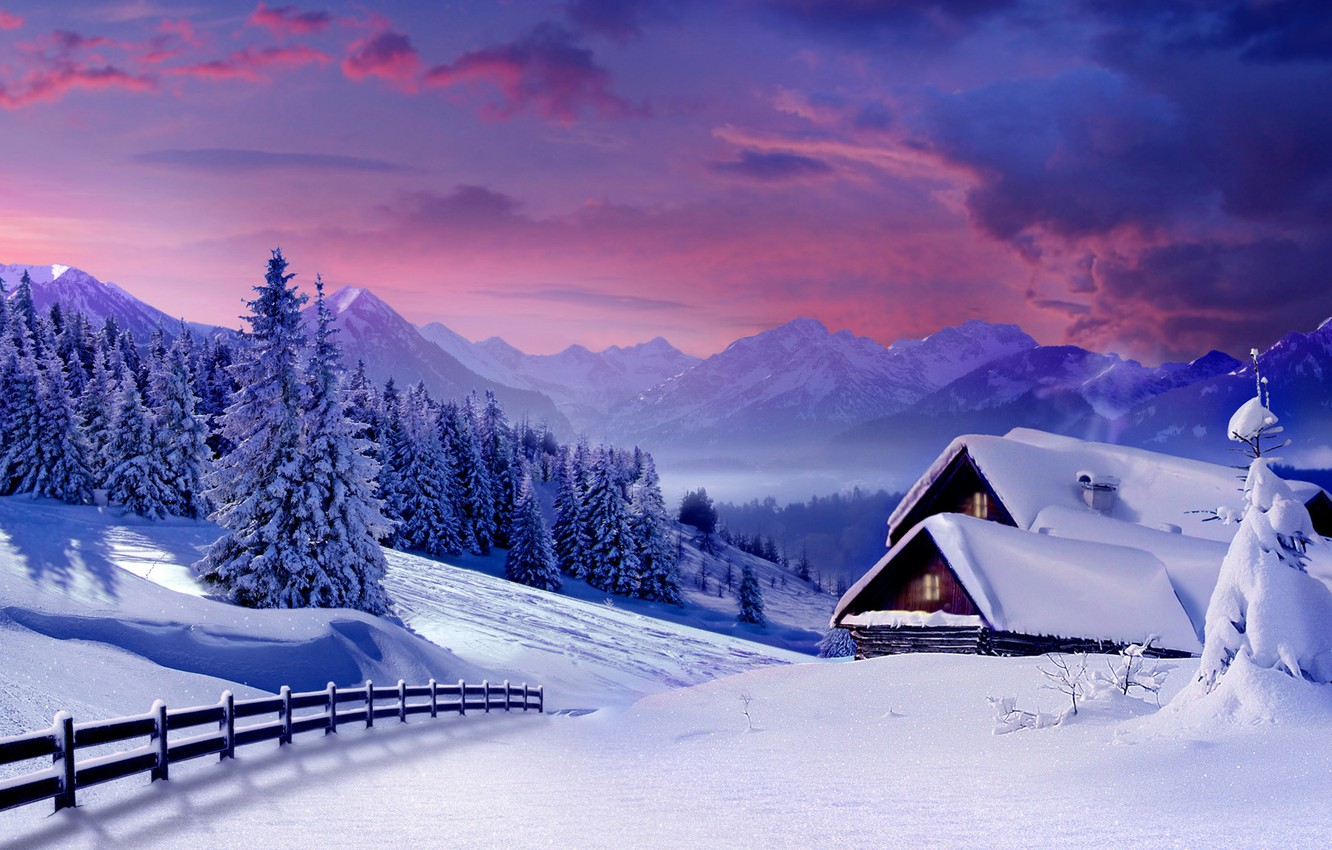 Photo wallpaper winter, snow, trees, mountains, house, the fence