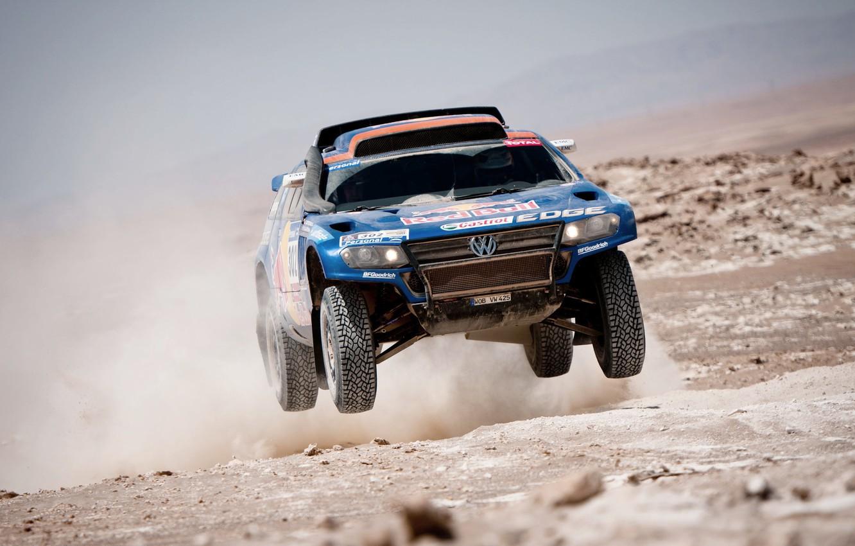Photo wallpaper Blue, Dust, Volkswagen, Desert, Red Bull, Touareg, Rally, Dakar, Dakar, In the air, Flies