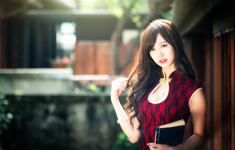 Photo wallpaper girl, makeup, neckline, book, East, chingcho Chang