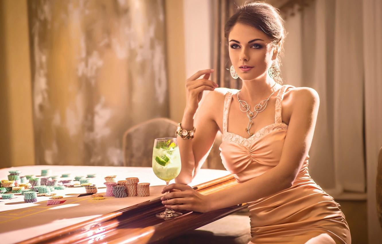 Photo wallpaper sexy, dress, woman, chips, casino