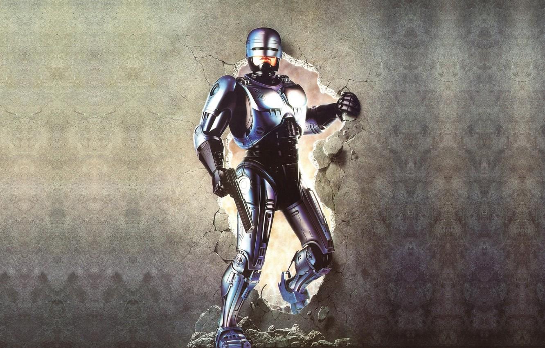 Photo wallpaper background, wall, cyborg, Robocop, Robocop, RoboCop