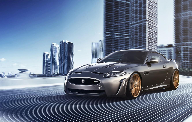 Photo wallpaper Jaguar, City, Car, Speed, Front, Sport, Road, XKR-S
