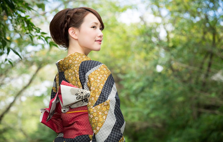 Photo wallpaper look, nature, smile, style, Japanese, girl, kimono, style, bokeh, wallpaper., beautiful background, elegant Asian, beautiful …