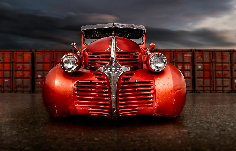 Photo wallpaper retro, Dodge, classic, pickup, the front, pickup