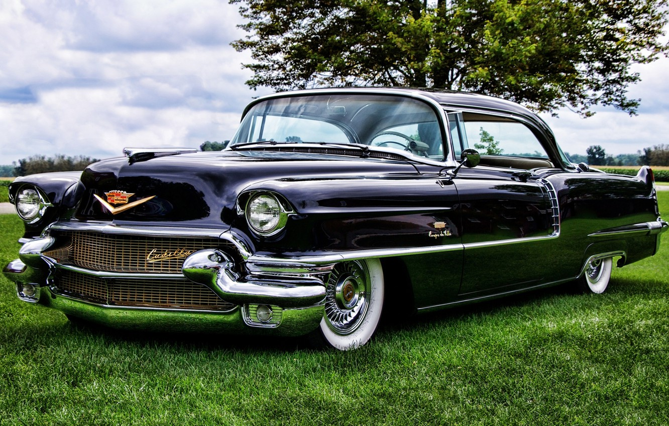 Photo wallpaper the sky, tree, Cadillac, Coupe, the front, Cadillac, 1956, Sixty-Two, City