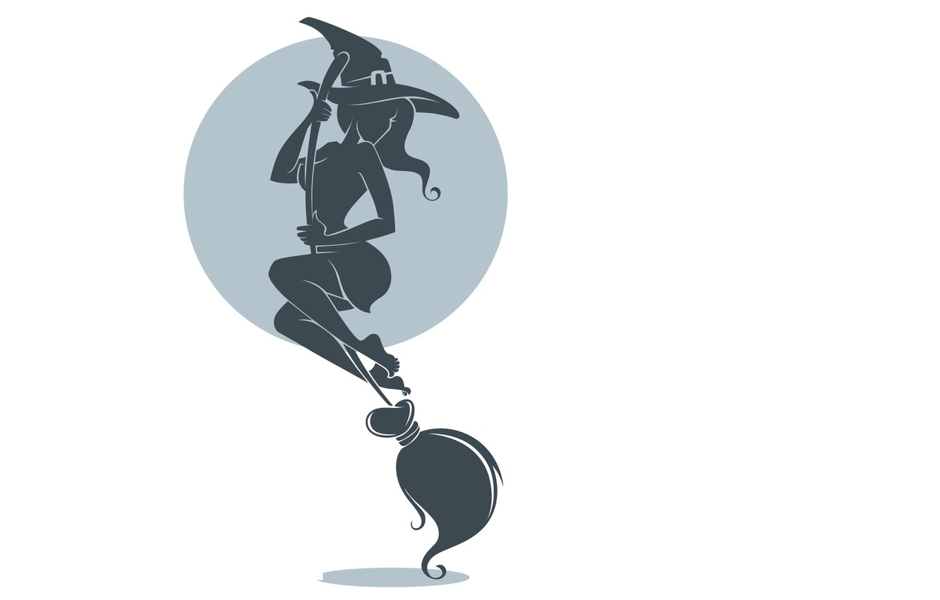 Photo wallpaper look, minimalism, hat, silhouette, white background, witch, broom, halloween