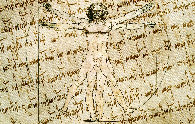 Photo wallpaper style, background, figure, vector, characters, sketch, artist, texture, canvas, the manuscript, Vitruvian man, Leonardo da …
