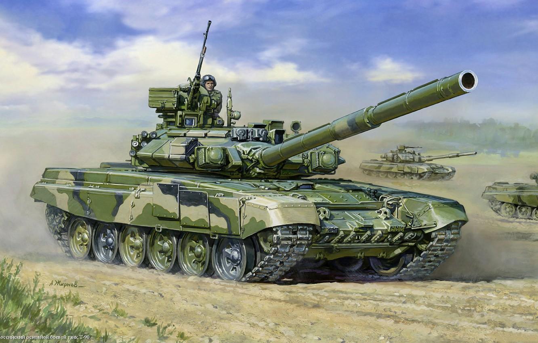 Photo wallpaper figure, Tank, Russian, t-90, main battle tank, tankers