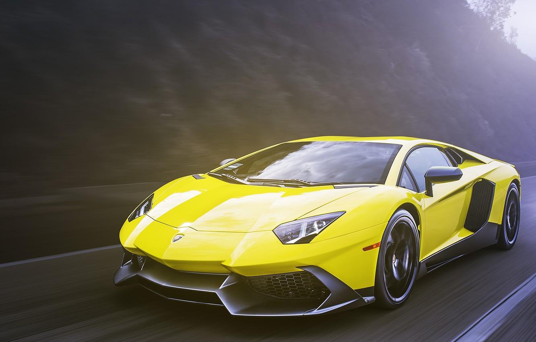 Photo wallpaper yellow, Lamborghini, Lamborghini, yellow, Aventador, aventador, LP720-4