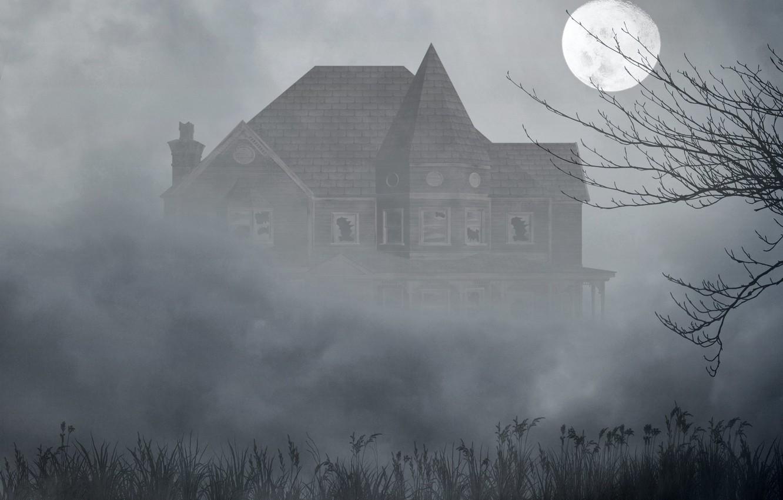 Photo wallpaper grass, fog, house, tree, the moon, the darkness, Windows, broken