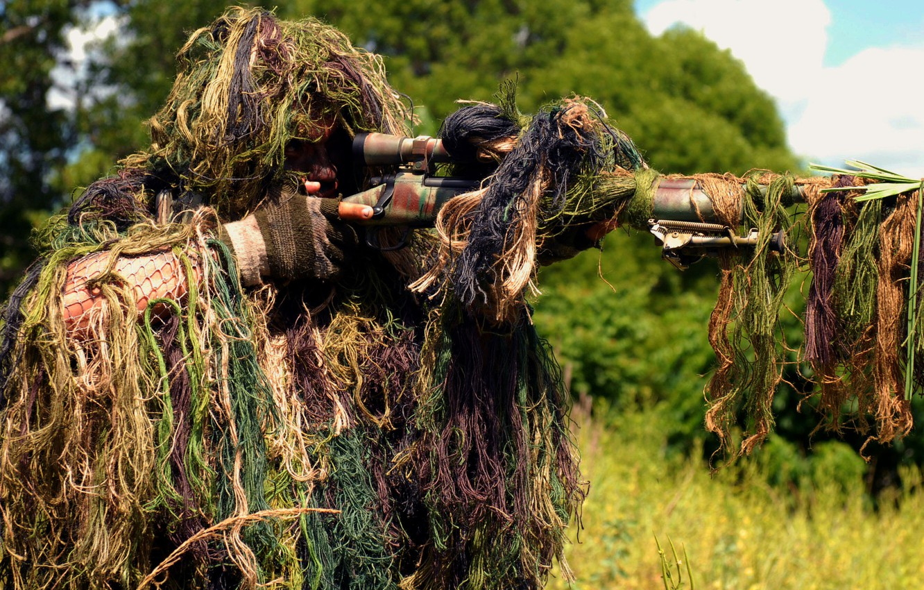 Photo wallpaper forest, grass, soldiers, optics, shooting, sniper, camouflage, sight, rifle, vskidku