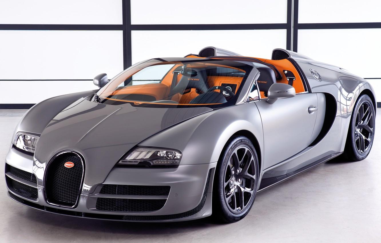 Photo wallpaper Roadster, Machine, Bugatti, Bugatti, Grey, Veyron, Machine, Veyron, Car, Car, Cars, Grey, Cars, Grand Sport, …