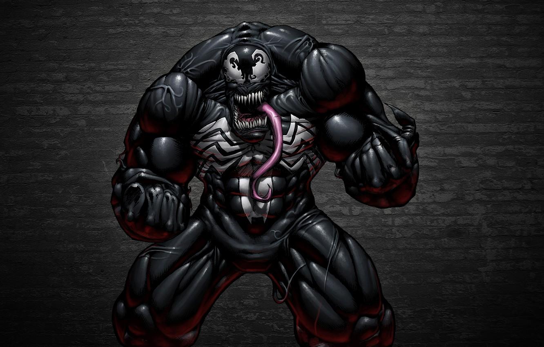 Photo wallpaper language, the dark background, wall, monster, comic, toothy, Spider-Man, Venom, Venom, Symbiote