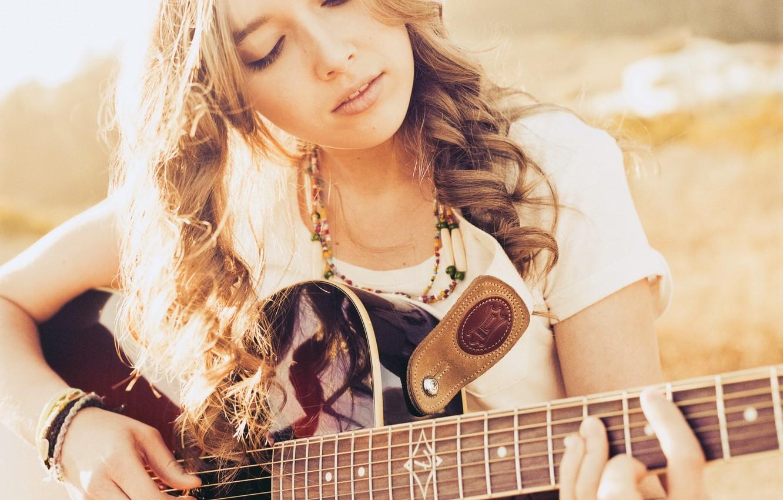 Photo wallpaper girl, music, guitar