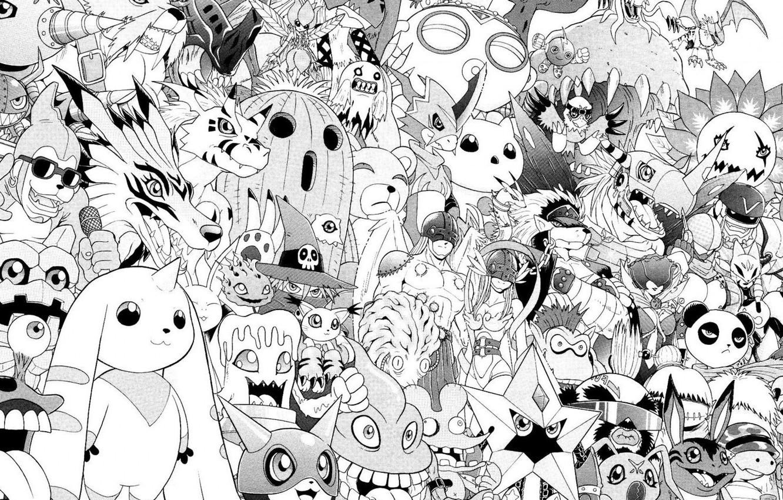 Photo wallpaper white, anime, black, wallpaper, manga, characters, old school, digimon