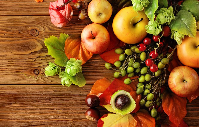 Photo wallpaper autumn, leaves, apples, still life, autumn, leaves, fruit, still life, berries, apples, harvest