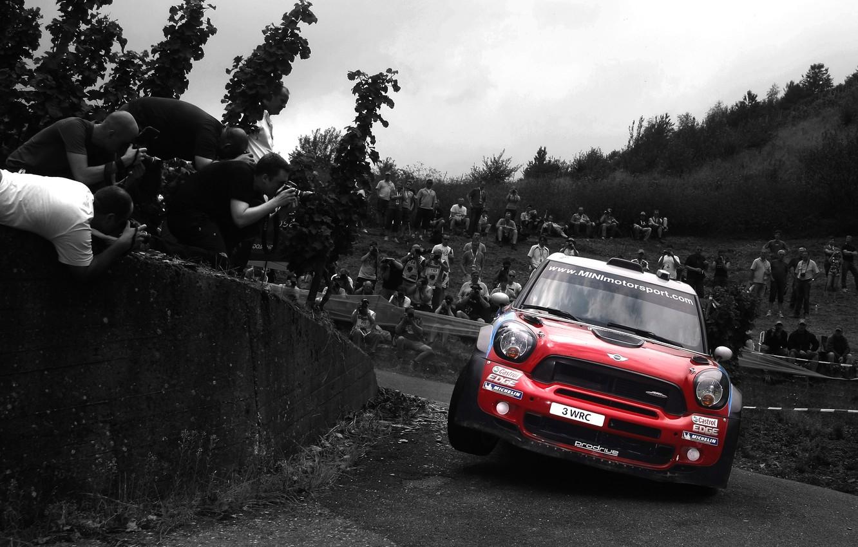 Photo wallpaper Red, Auto, Sport, Machine, Skid, Lights, Mini Cooper, WRC, the front, Rally, MINI, Mini Cooper