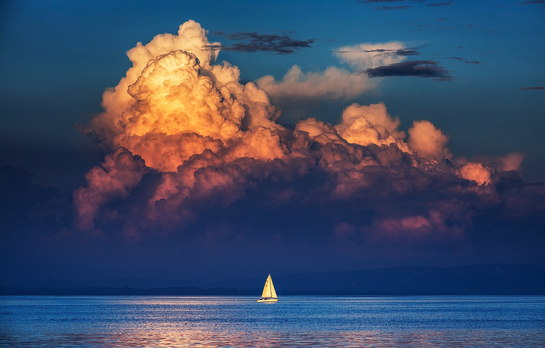 Photo wallpaper sea, the sky, clouds, reflection, shore, sailboat, mirror, horizon