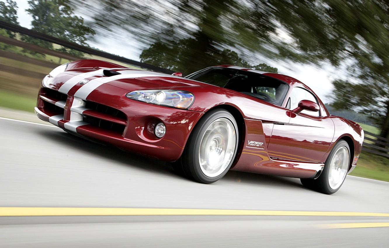 Photo wallpaper road, speed, Dodge, Viper