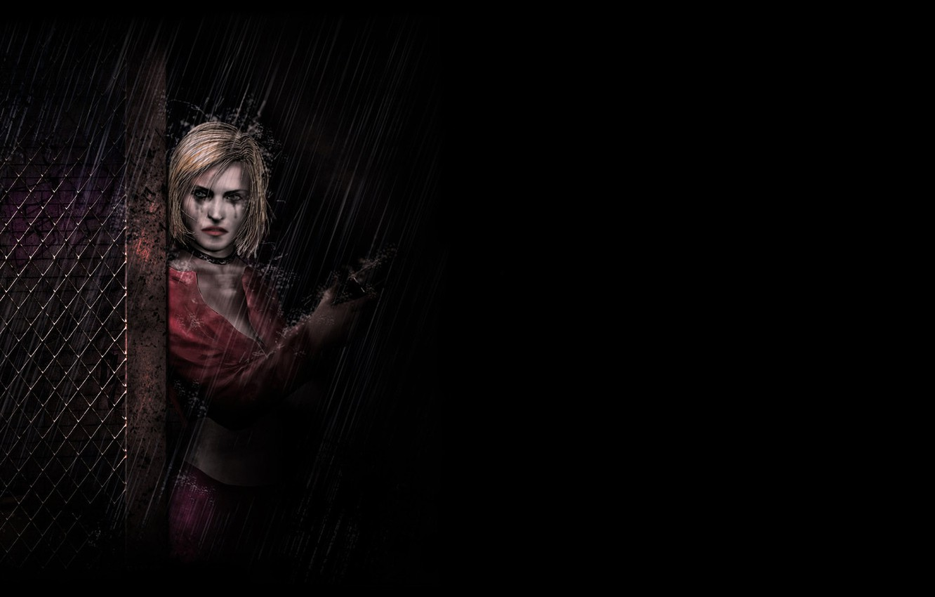 Wallpaper Girl Gun Rain The Fence Grille Art Blonde Black Background Maria The Shower Maria Silent Hill 2 Images For Desktop Section Igry Download