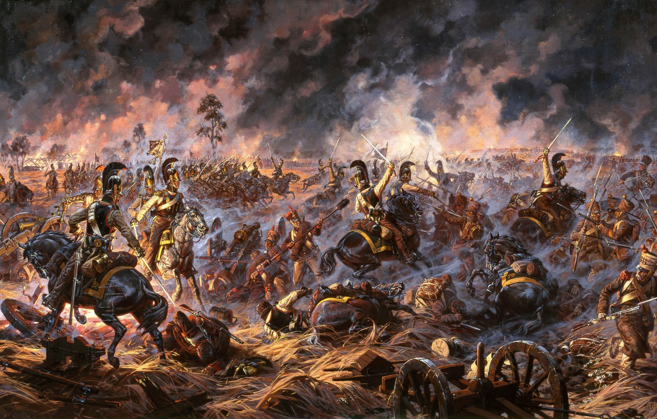 Photo wallpaper war, soldiers, battle, Russian, the French, 1812