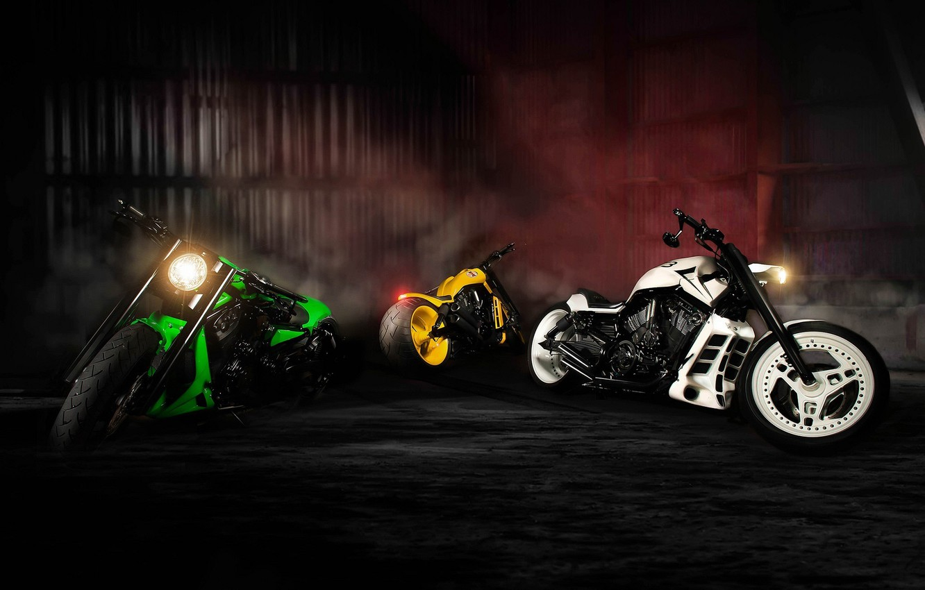 Photo wallpaper Green, White, Yellow, Bike, Sport, Motorcycles, NLC