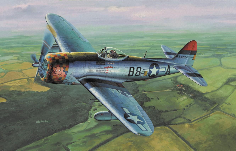 Обои war, painting, aviation, ww2, aircraft, air combat, P 47 thunderbolt, drawing, dogfight. Авиация foto 12