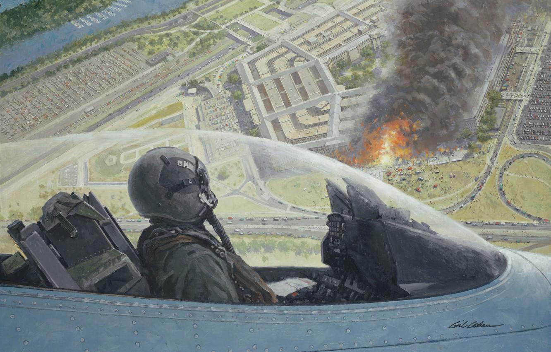 Photo wallpaper fire, flame, smoke, figure, art, Washington, cabin, the plane, pilot, F-16, 11 Sep, Virginia, The …