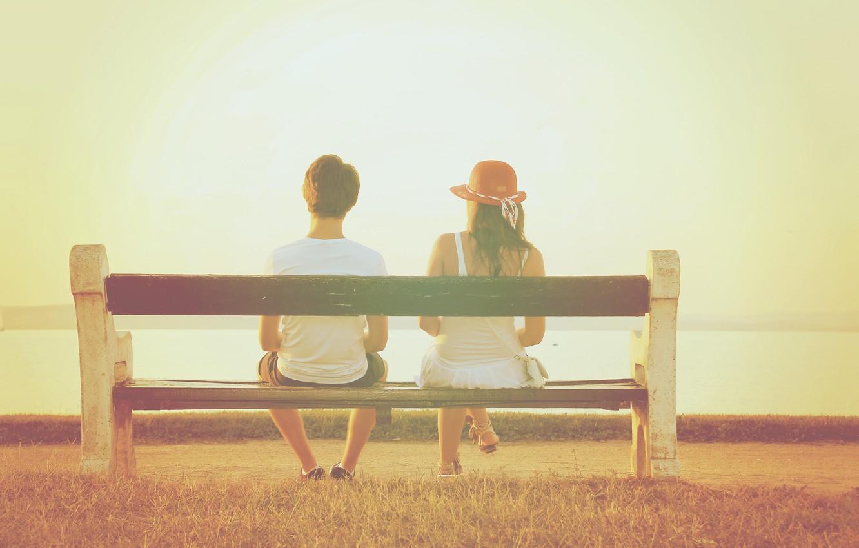 Photo wallpaper summer, girl, bench, hat, guy, two, feeling