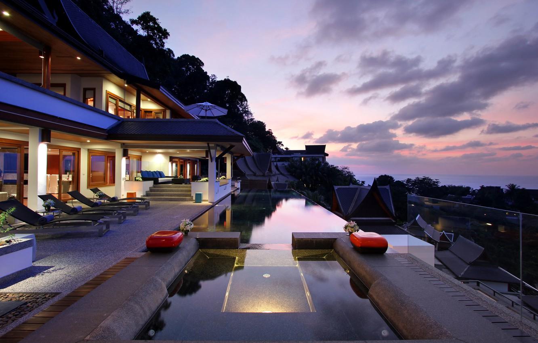 Photo wallpaper sea, clouds, trees, house, umbrella, sofa, Villa, pool, Jacuzzi, balcony, house, pool, table, sunbeds, home, …