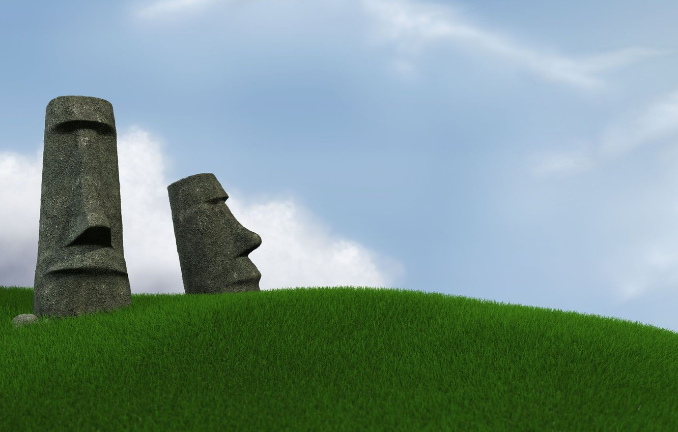 Photo wallpaper The sky, Grass, Easter island, Statues