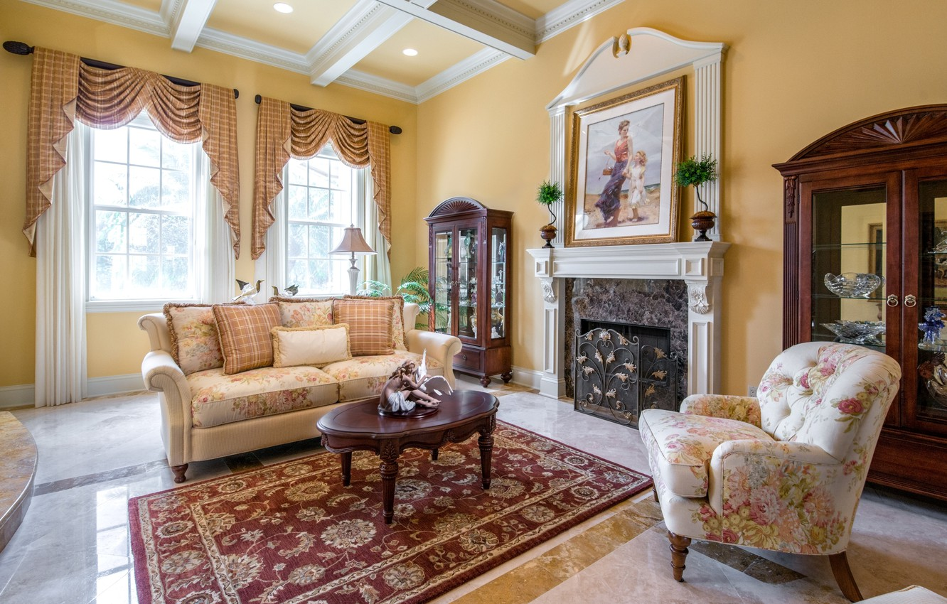 Photo wallpaper sofa, carpet, picture, chair, fireplace, curtains, living room