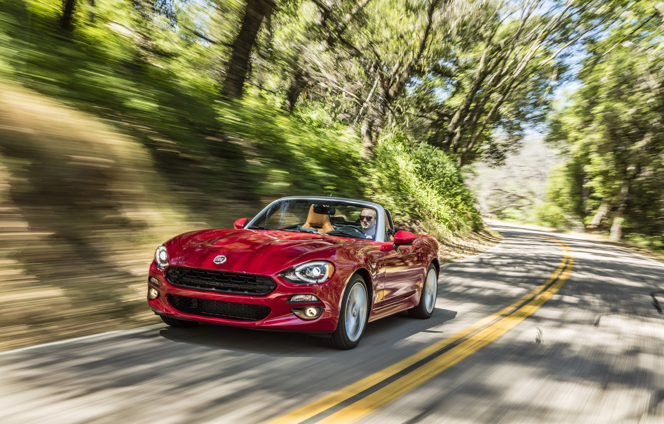 Photo wallpaper road, red, car, Fiat, Fiat, Lusso, 124 Spider