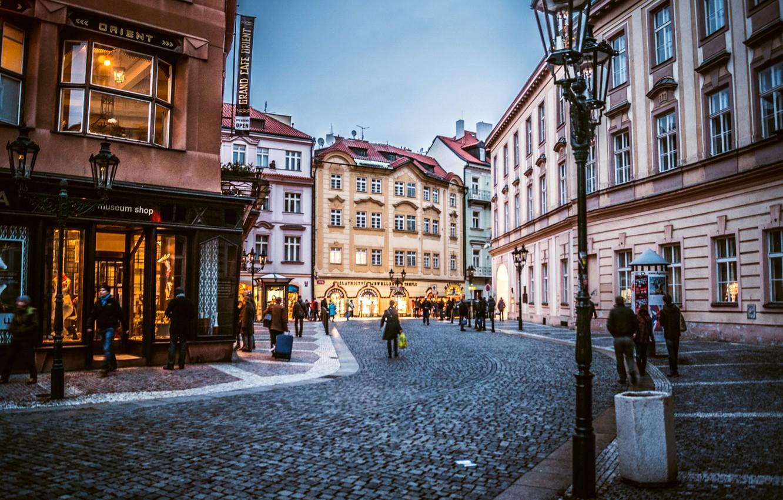 Photo wallpaper the city, people, building, home, the evening, pavers, Prague, Czech Republic, lights, stores, Prague, The …