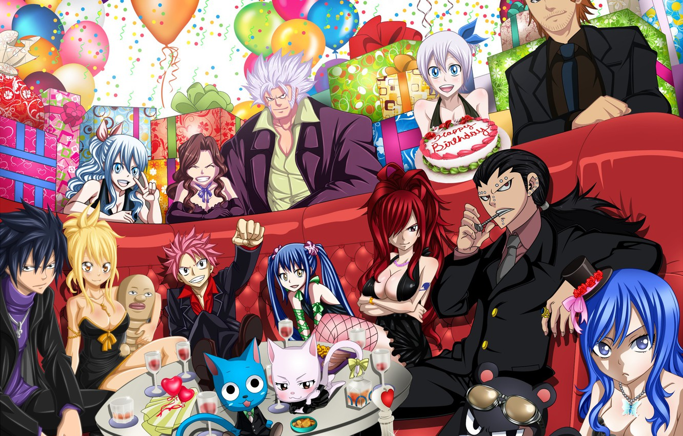 Photo wallpaper balls, girls, holiday, cats, anime, art, gifts, cake, guys, happy, booze, fairy tail, tale of …