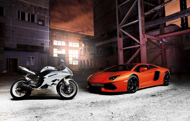 Photo wallpaper white, Yamaha, orange, Aventador
