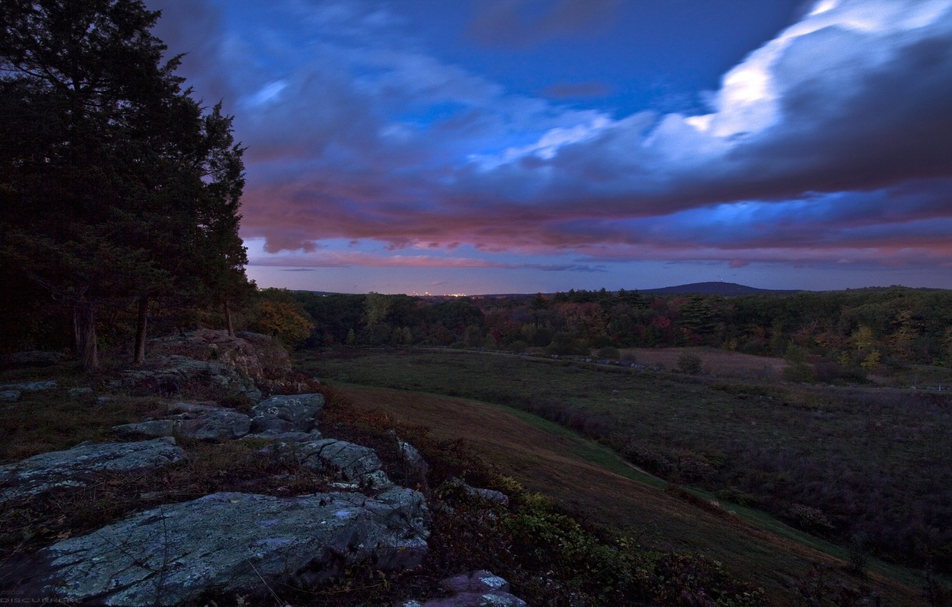 Photo wallpaper the sky, hills, Forest, slope, evening