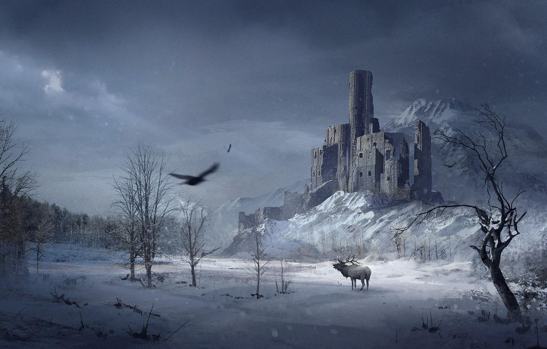 Photo wallpaper winter, forest, snow, trees, castle, bird, mountain, Raven, crow, moose