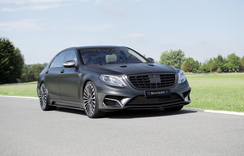 Photo wallpaper black, Mercedes-Benz, Matt, Mercedes, Black, Mansory, S-Class, W222, 2015