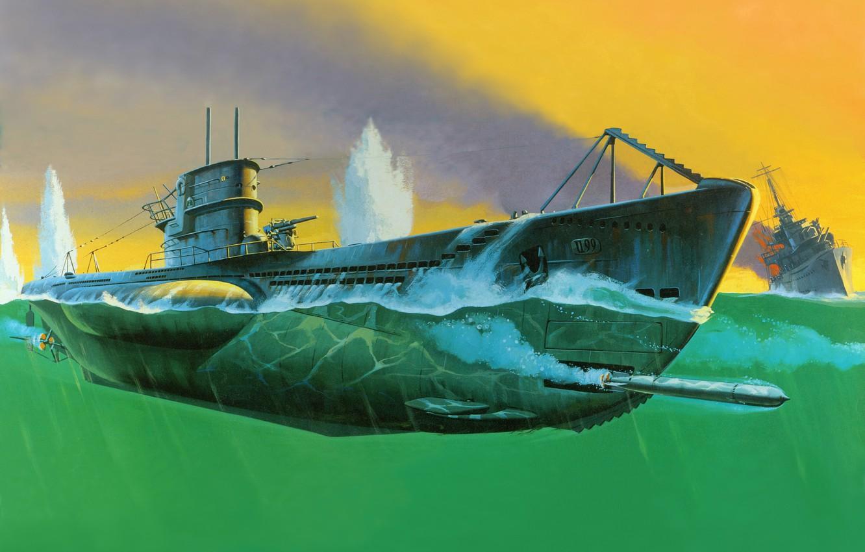 Photo wallpaper figure, battle, art, submarine, U - 99