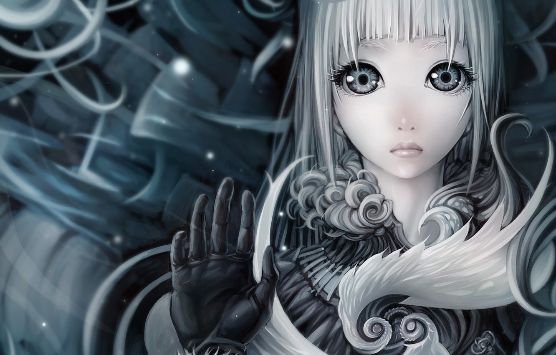 Photo wallpaper girl, face, art, white hair, ljs35794