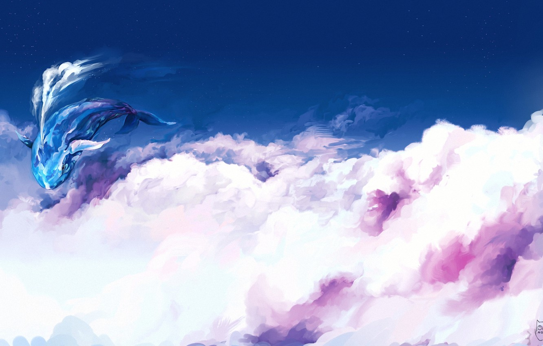 Photo wallpaper clouds, flight, fantasy, art, kit, in the sky, ominoux