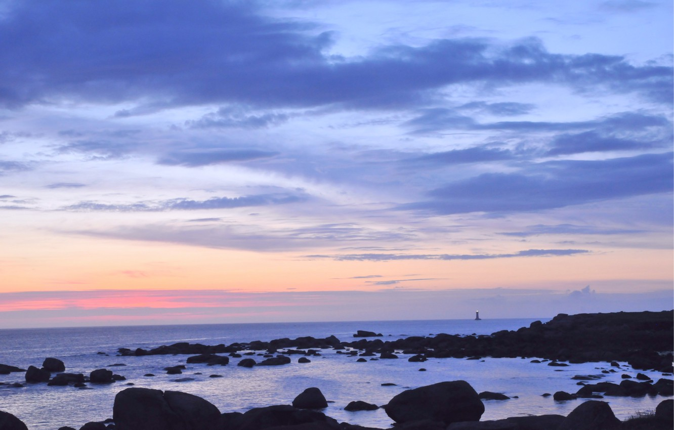 Photo wallpaper sea, the sky, clouds, sunset, stones, the ocean, shore, lighthouse, The evening, twilight, away