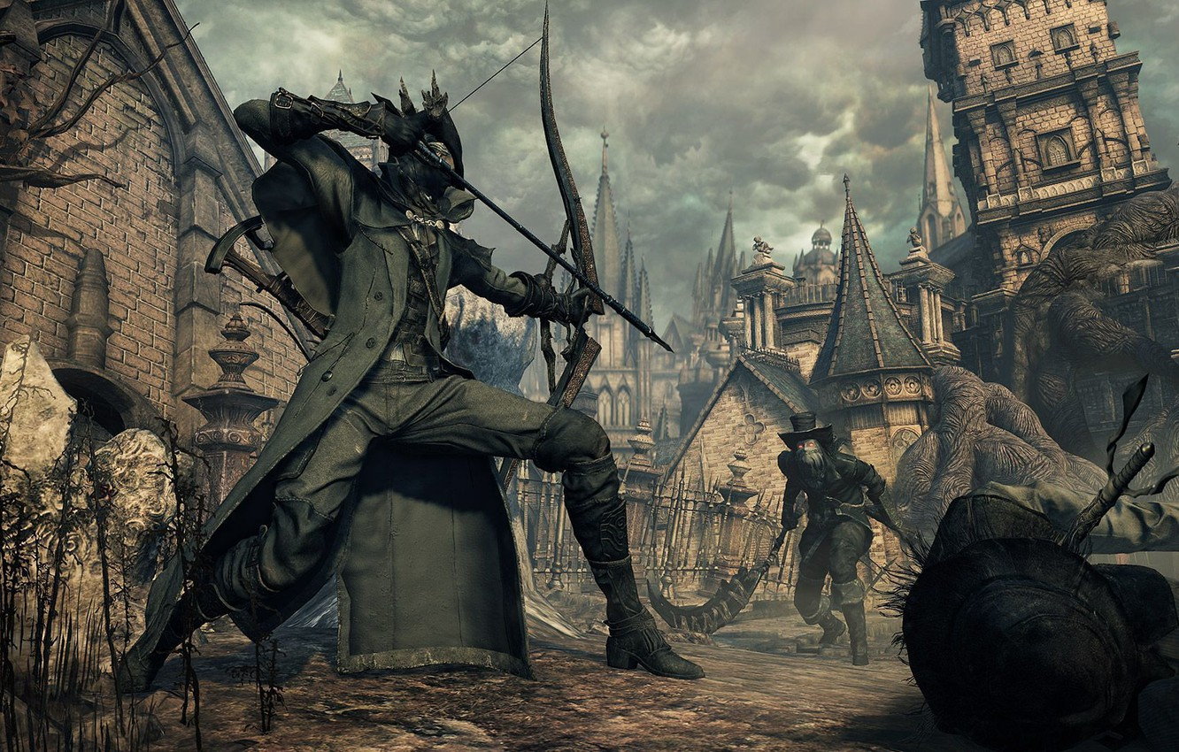 Wallpaper the city, bow, fortress, hunter, Bloodborne images